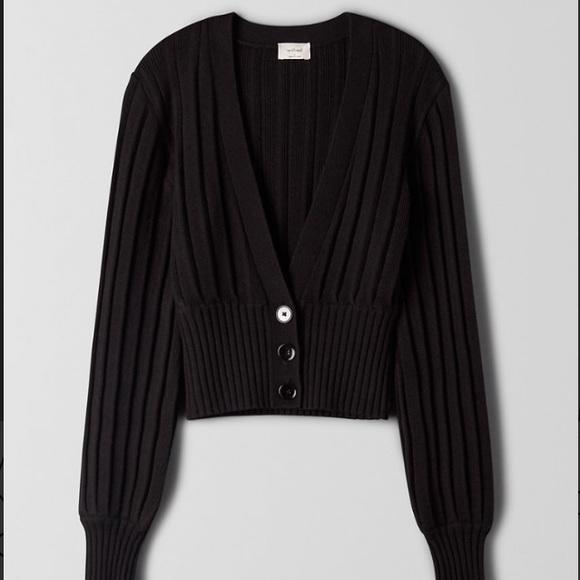Wilfred Plunge Front Cardigan - Black Wool Cardi